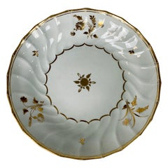 From the Collection of Mario Buatta a White and Gold Fluted Dish, England c-1820