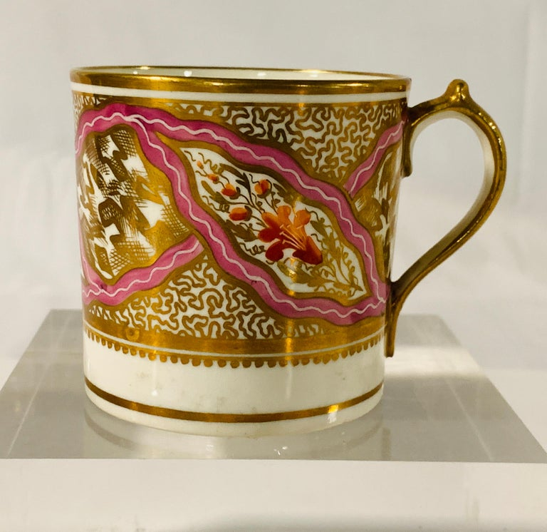 English From The Collection of Mario Buatta Miles Mason Porcelain Coffee Can & Saucer For Sale