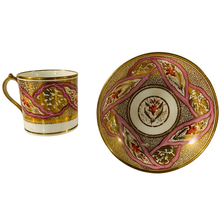 From The Collection of Mario Buatta Miles Mason Porcelain Coffee Can & Saucer For Sale