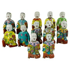 "From the Collection of Mario Buatta Set of 12 Chinese ""Laughing Boys"" circa 1800"