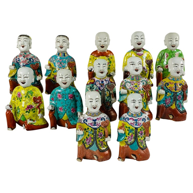 """From the Collection of Mario Buatta Set of 12 Chinese """"Laughing Boys"""" circa 1800 For Sale"""