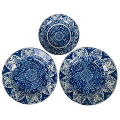 From The Collection of Mario Buatta Set of 3 Blue and White Staffordshire Dishes