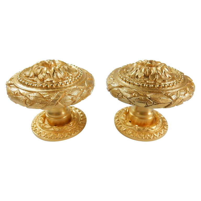 From the Sherle Wagner Collection, 2 Sided 22-Karat Door Knob Set For Sale