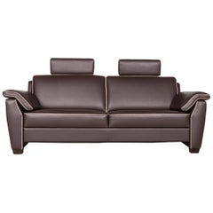 Frommholz Trevi Designer Leather Sofa Brown Genuine Leather Three-Seat Couch