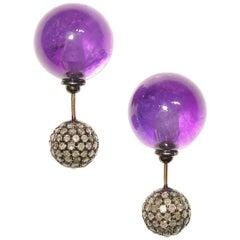 Front Back Double Sided Amethyst Diamond Stud Earrings