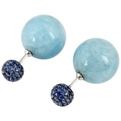 Front Back Double Sided Aquamarine Blue Sapphire Stud Earrings