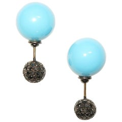 Front Back Double Sided Diamond Turquoise Tunnel Stud Earrings