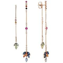 Front Back Multi Sapphire Diamond Dangle Earrings