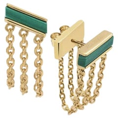 Front to Back 3-Chain Earrings, Yellow Silver, Malachite