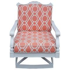 Frontgate Aluminum Glen Isle Swivel Lounge Cushion Chair Geometric Peach 48012