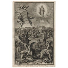 Frontispiece, 1728 Framed Engraving Religious