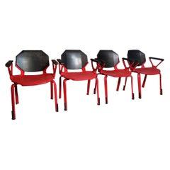 Froscher Designed Retro 1970 Red Metal Office / Desk Arm Chair for Sitform