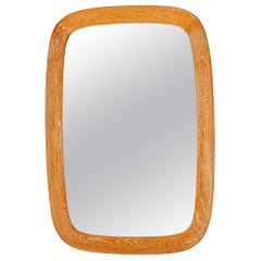 Fröseke, Ab Nybrofabriken, Wall Mirror, Cerused Solid Oak, Crystal Glass, 1960s
