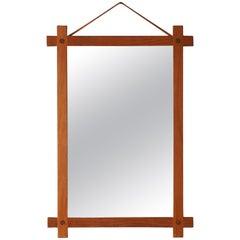 Fröseke, Ab Nybrofabriken, Wall Mirror, Solid Teak, Leather, Mirror Glass, 1960s