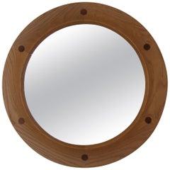 "Fröseke, ""Mariana Round Wall Mirror, Oak, Crystal Glass, Teak, 1950s, Sweden"