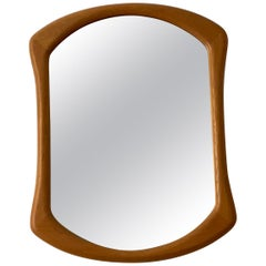 Fröseke, Organic Wall Mirror, Oak, Crystal Glass, 1950s, Sweden