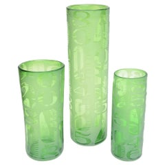 Frosted and Etched Numbered Glass Vases Set of 3