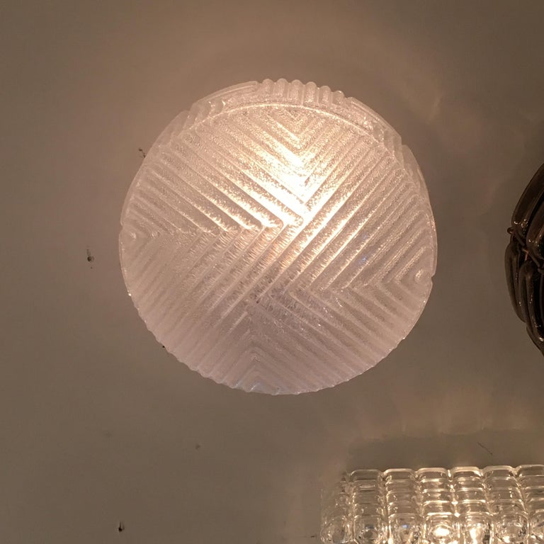Frosted Austrian Flush Mount In Good Condition For Sale In Los Angeles, CA