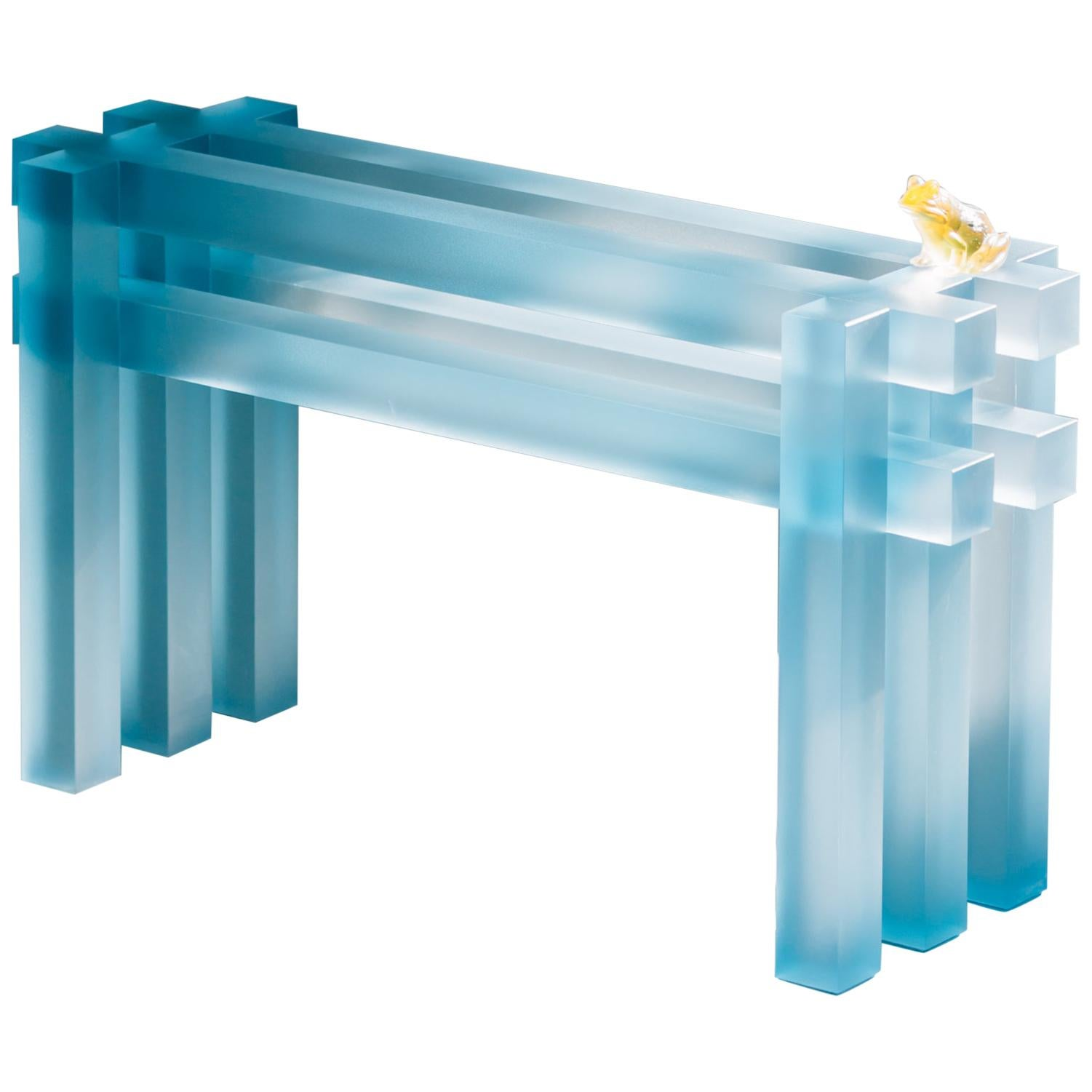 Frosted Blue Short Bench by Laurids Gallée
