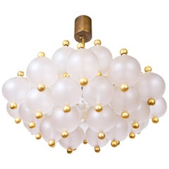 Frosted Bubble Glass Balls and Brass Chandelier by Kinkeldey, 1950s