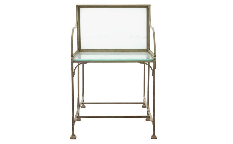 Frosted Glass and Metal French Bank Desk In Good Condition For Sale In Chicago, IL