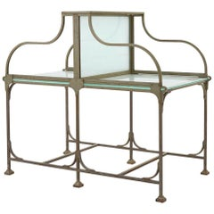 Frosted Glass and Metal French Bank Desk