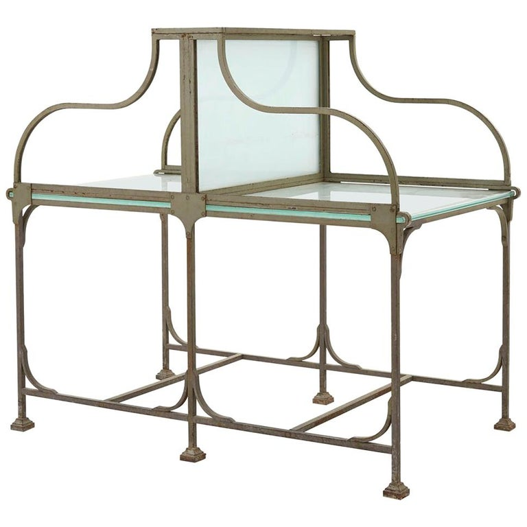 Frosted Glass and Metal French Bank Desk For Sale