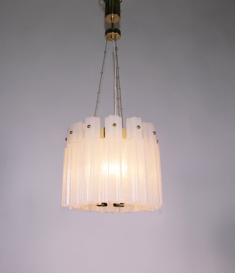 German Frosted Glass Chandelier by Glashuette Limburg, 1960s  For Sale