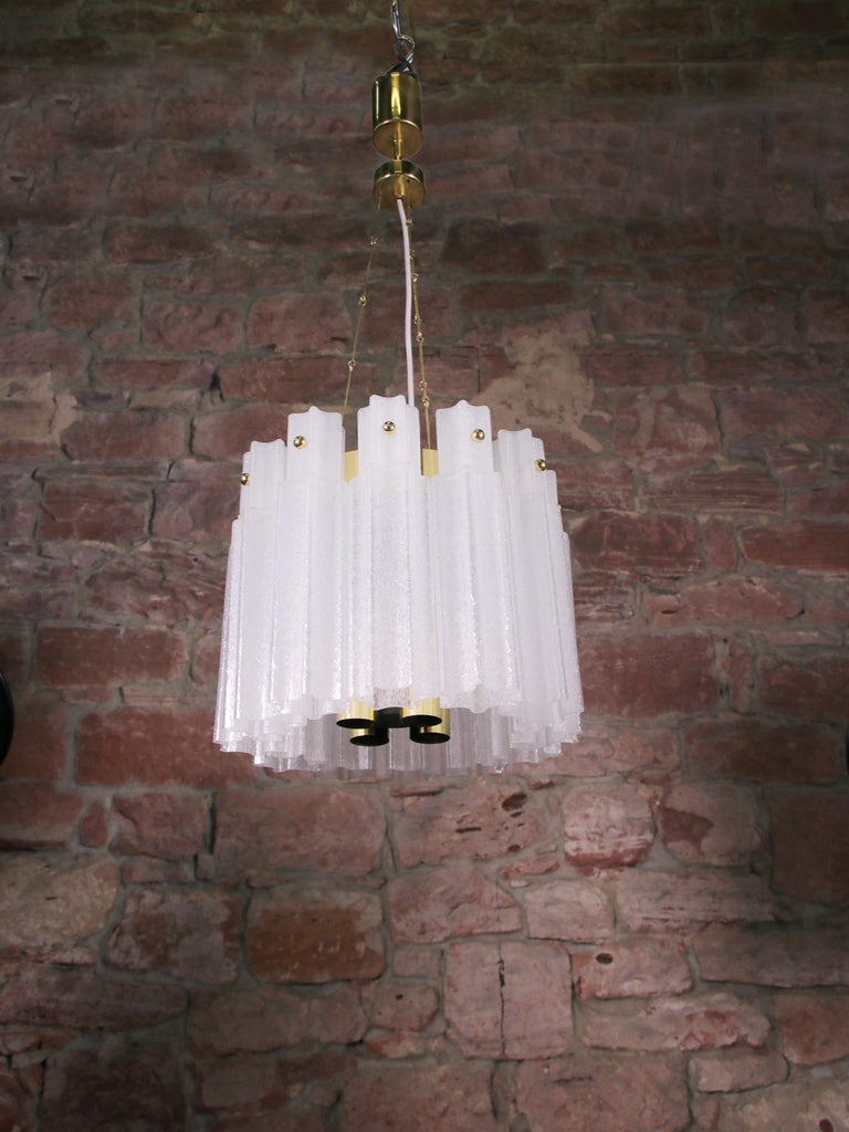 Hand-Crafted Frosted Glass Chandelier by Glashuette Limburg, 1960s  For Sale