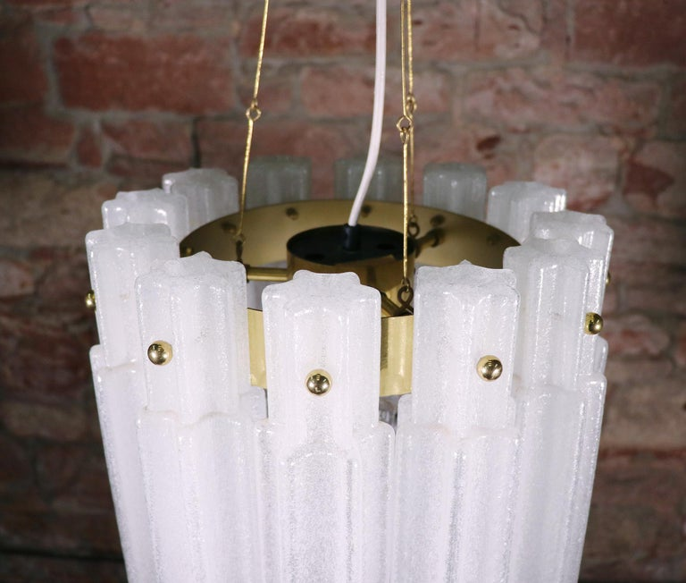 Blown Glass Frosted Glass Chandelier by Glashuette Limburg, 1960s  For Sale