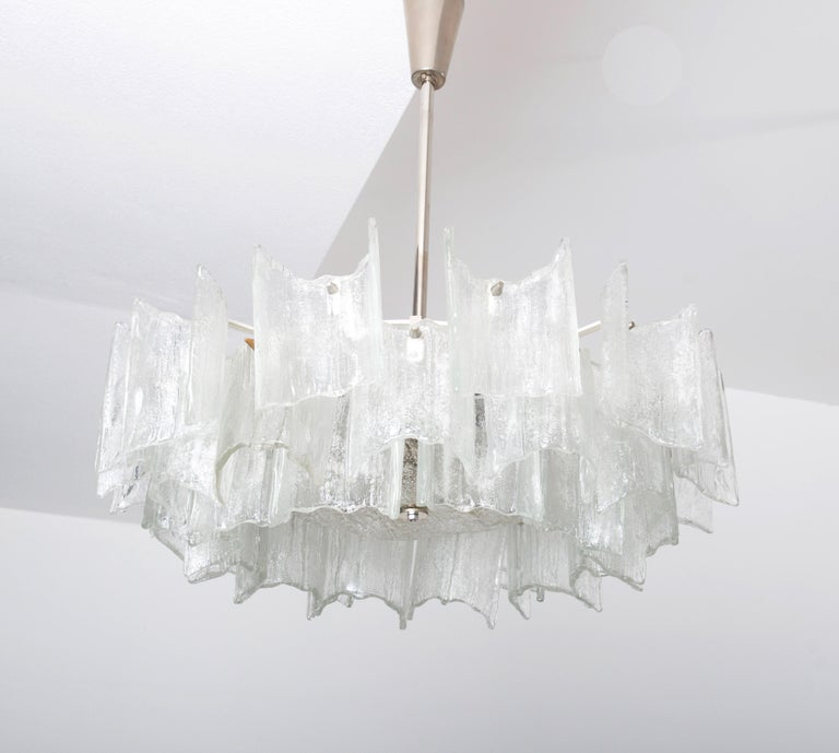 Mid-Century Modern Frosted Glass Chandelier By J. T. Kalmar For Sale