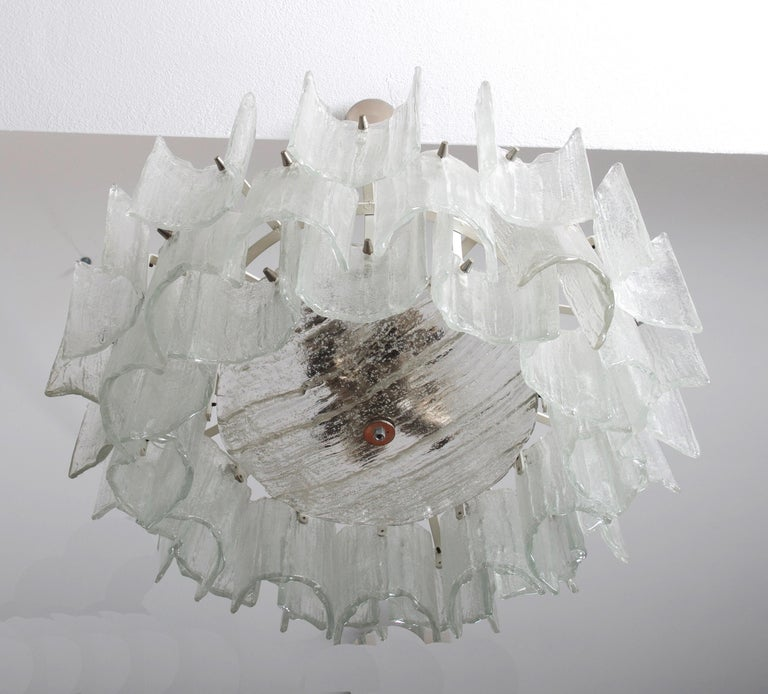 Art Glass Frosted Glass Chandelier By J. T. Kalmar For Sale