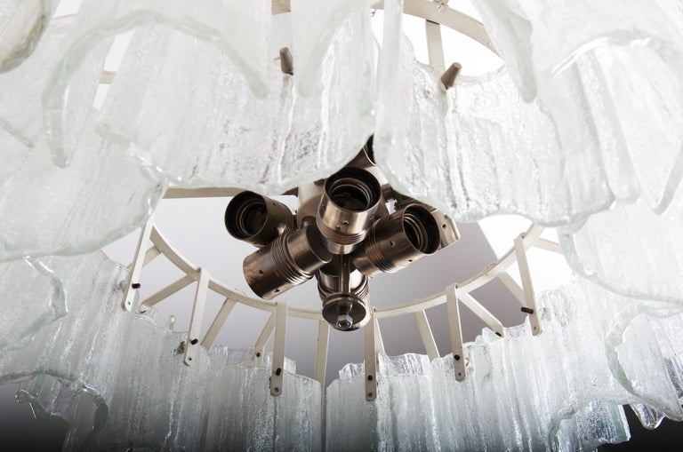 Frosted Glass Chandelier By J. T. Kalmar For Sale 1