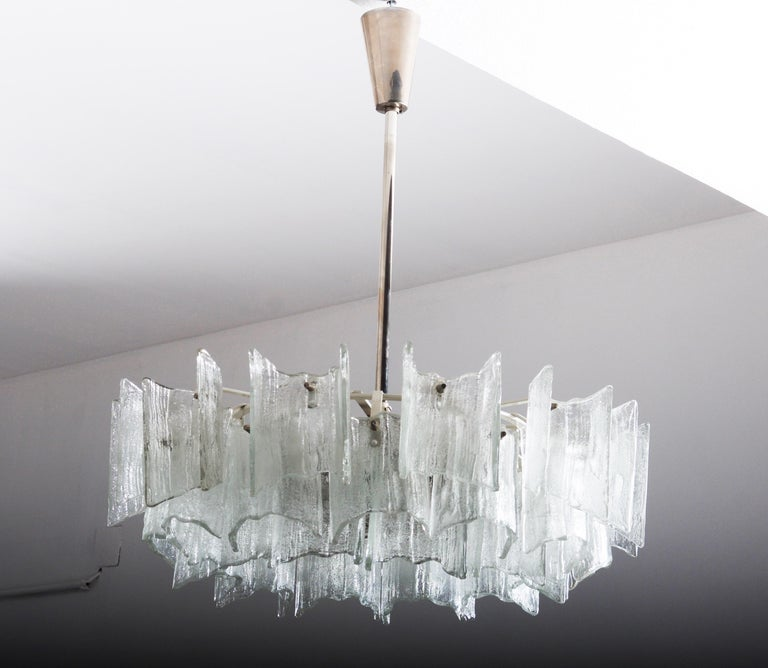 Frosted Glass Chandelier By J. T. Kalmar For Sale 2