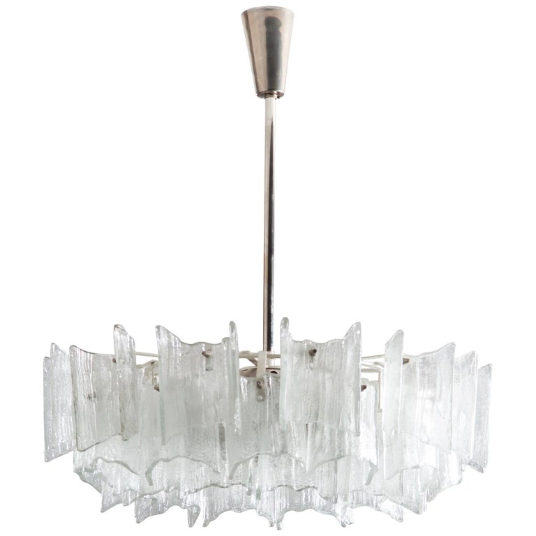 Frosted Glass Chandelier By J. T. Kalmar For Sale