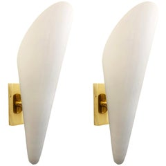 Frosted Glass Cone Sconces, Italy, 1960s