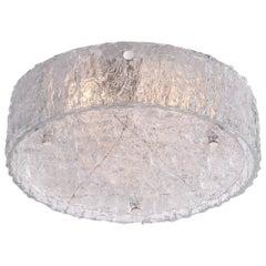 1960 German Kaiser Large Flush Mount Ceiling Light Frosted Murano Glass