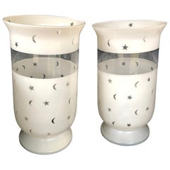 Frosted Glass Hurricane Shades with Moon and Stars Decoration