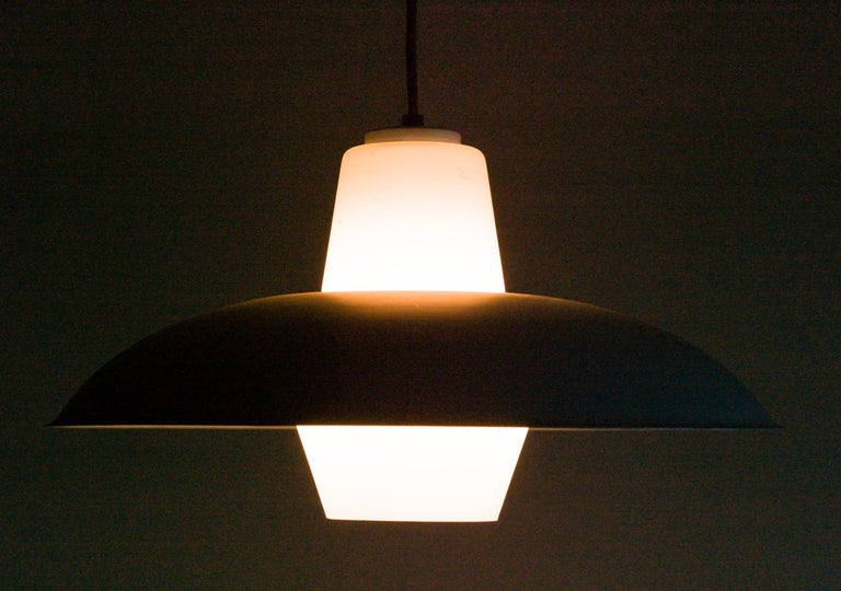 Mid-Century Modern Frosted Glass Pendant by Louis Kalff For Sale