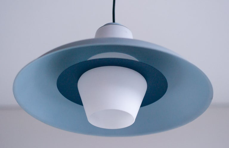 Dutch Frosted Glass Pendant by Louis Kalff For Sale