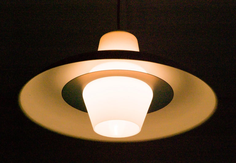 Enameled Frosted Glass Pendant by Louis Kalff For Sale