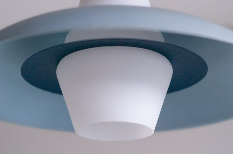 Frosted Glass Pendant by Louis Kalff In Good Condition For Sale In Dronten, NL