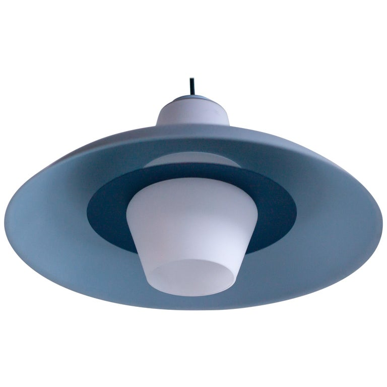Frosted Glass Pendant by Louis Kalff For Sale