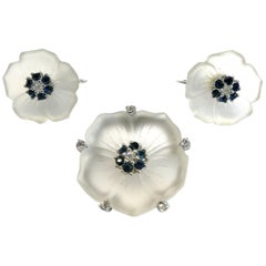 Frosted glass, sapphire and clear paste 'flower' brooch/earrings, Ciner, 1950s