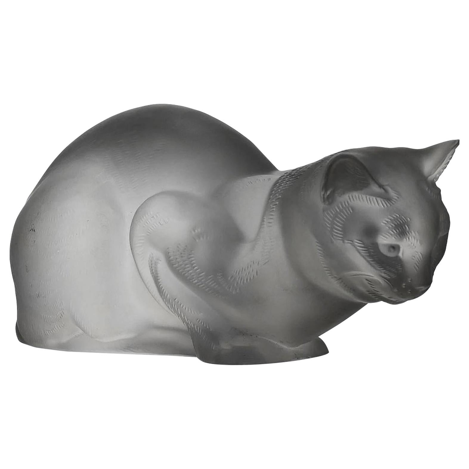 """Frosted Glass Study """"Chat Reposé"""" by Marc Lalique"""