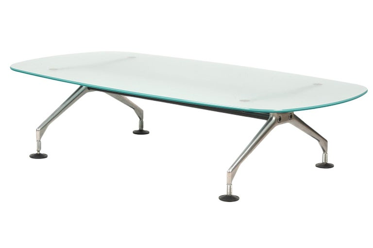 Modern Frosted Glass Top and Brushed Metal Coffee Table by Antonio Citterio for Vitra For Sale