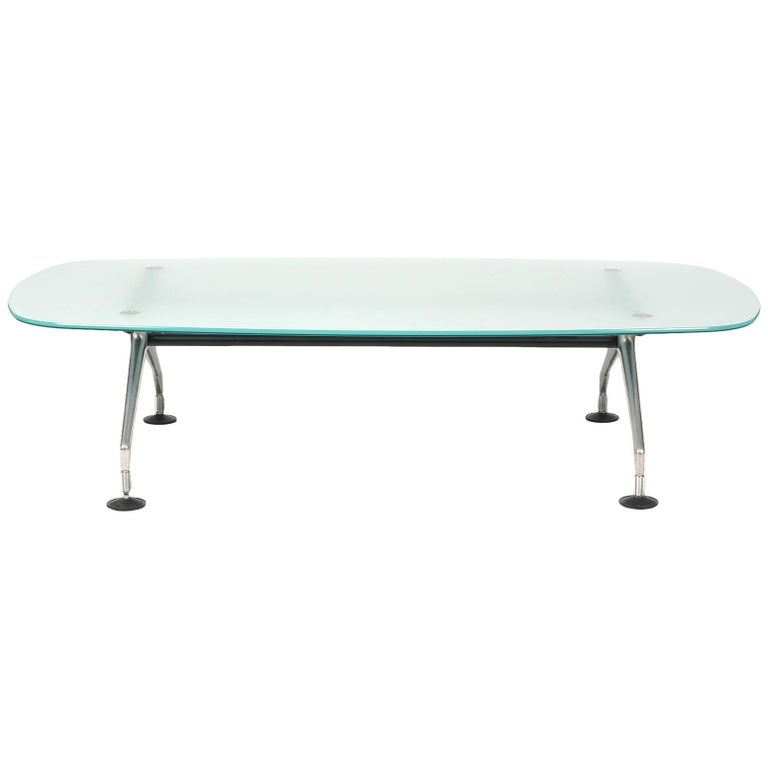 Frosted Glass Top and Brushed Metal Coffee Table by Antonio Citterio for Vitra For Sale