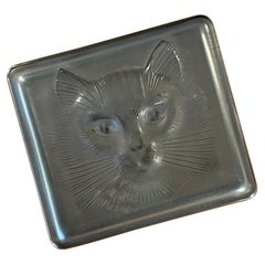 Frosted Grey Crystal Lidded Box by Lalique of France