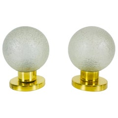 Frosted Iceglass and Brass Table Lamps by Doria Leuchten, 1970s, Set