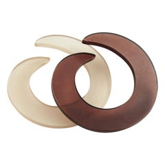 Frosted Lucite Avant Garde Coiled Bangle Bracelet, a pair